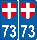 SAFIRMES 2 Stickers Blason Croix Blanche 73 Style Plaque Immatriculation département 73