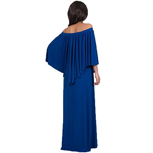 WintCO Damen Langarm Abendkleid Lang Schulterfrei Kleid Maxikleid Bodenlang Kleid Volent Lange Kleider Saphirblau