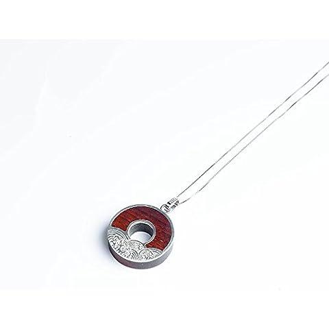 SUYA Intarsio lobular legno di sandalo rosso argento collana ciondolo, gioielli in argento sterling s999, retrò stile cinese classico, regalo