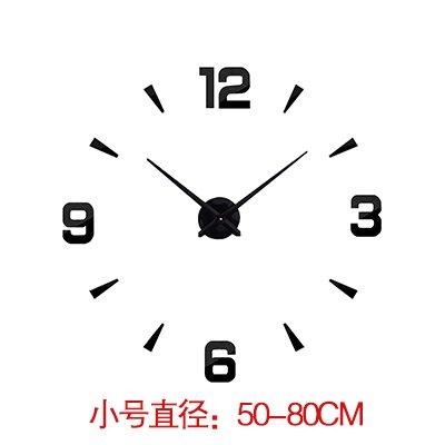 Y-hui mur de la salle de séjour regarder l horloge Diy 3D Art Stickers Tableau Horloge Watch Mute, Petit Diamètre : 50-80 cm de large diamètre : 80-120cm,Autres,Black - trompette