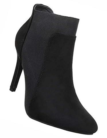Damen Ankle Boots High Heel | Frauen-Stiefel Wadenhohe-Stiefel | Schuhe Lederoptik Schlupf-Stiefel | Kurzschaft-Stiefel Stiefeletten| Schwarz Stiletto-Absatz Ohne Verschluss Größe 38