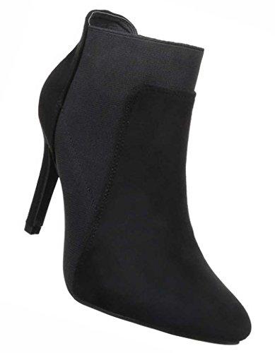 Damen Ankle Boots Schuhe High Heel Stiefeletten Schwarz Grau Rot 35 36 37 38 39 40 Schwarz