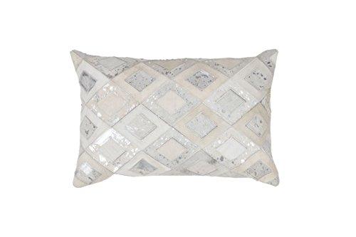 Sofa-Kissen Dekokissen modern Design Couch Spark Pillow 110 Rauten Muster Leder 40x60 cm Grau/ Zierkissen günstig online kaufen