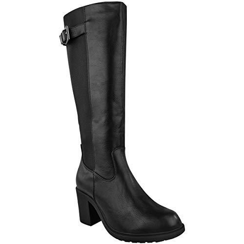 Fashion Thirsty Damen Stiefel mit weitem Schaft - Wadenhoch - Flacher Blockabsatz - elastisch - Schwarzes Kunstleder - EUR 38