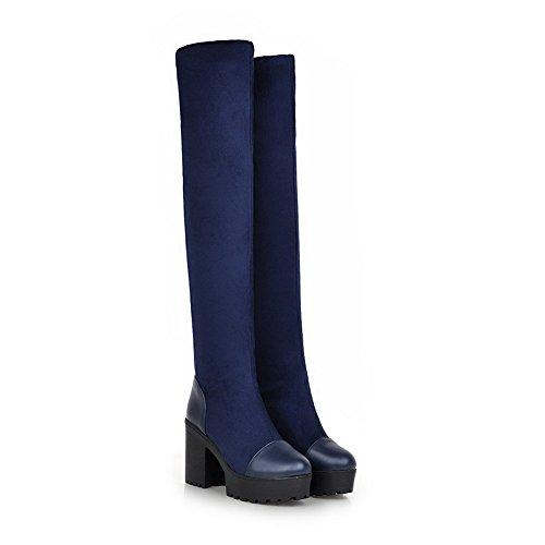 AgooLar Damen Hoher Absatz Weiches Material Hoch-Spitze Eingelegt Ziehen auf Stiefel, Schwarz, 37