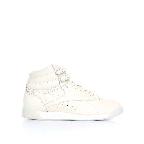 Reebok Freestyle Hi Face 35 Donna Sneaker Bianco Beige