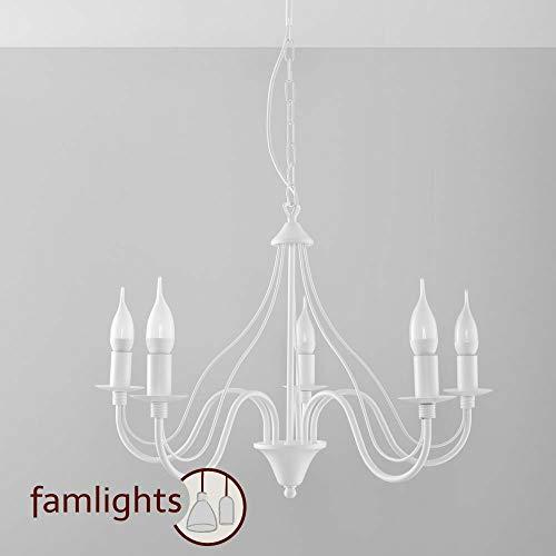 famlights Bennet Kronleuchter aus Stahl in Weiß, 5 x E14-Fassung | Deckenleuchte edel Wohnzimmer-Leuchte Flurleuchte Vintage Küchen-Leuchte Industrial Flurlicht Umkleide shabby chic -