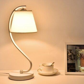 Preisvergleich Produktbild WXBW Tischlampe-LED Lampen Arbeitstisch dekoriert Lernen Nachttisch Lampe Schlafzimmer Bett kreative Lampen, Weiß 6W mit Fernbedienung
