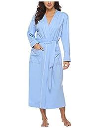 089e5de9e9525 Sykooria Womens Lightweight Cotton Knit V Neck Long Kimono Robes Bathrobe  Soft Sleepwear Loungewear Pocket Dressing