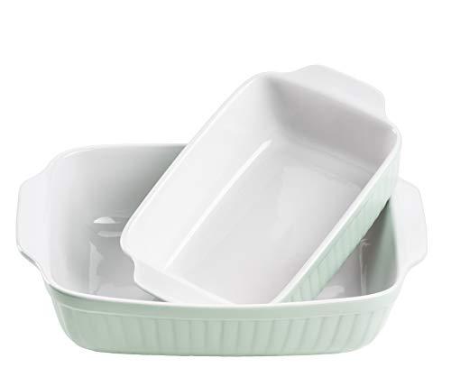 Mäser 931136 Serie Kitchen Time, Auflaufformen rechteckig im 2er Set, eckige Ofenformen, ideal auch für Lasagne, kratz- und schnittfest, Keramik, 33 x 24 x 8 cm / 25,5 x 16 x 7 cm, Grün Keramik-8