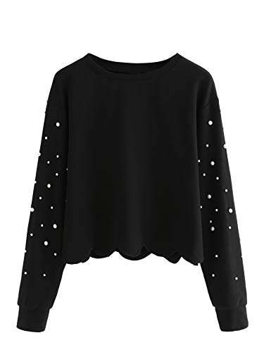 DIDK Damen Sweatshirt mit Perlen Langarm Pullover Oberteile Schwarz M