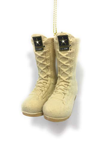 Kurt Adler US Army Desert Combat Boots with Name Tag Flocked Christmas Ornament AM2111 New -