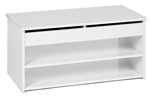 Ts-ideen scarpiera cassapanca da ingresso bianca con 2 ripiani portascarpe e coperchio apribile