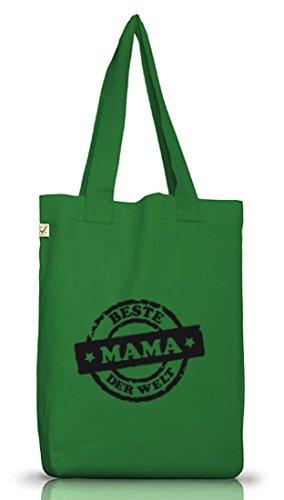 Shirtstreet24, Beste Mama der Welt Stempel, Muttertag Mutter Jutebeutel Stoff Tasche Earth Positive Moss Green