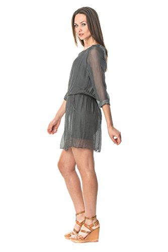 LauraMoretti-Robe en soieavec encolure en V, manches longues,taille ajustableet la broderie Gris