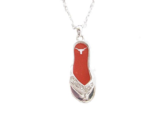 From the Heart Texas Longhorns 40,6 cm Silber Ton Flip Flop Halskette Ut Burnt Orange