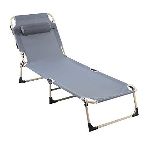 EBTOOLS Sillón Cama Plegable Portátil Silla reclinable Cama de Ocio para Camping Salón al Aire Libre Playa Jardín Patio(Gris)