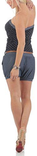 malito Damen Einteiler mit Anker Print   kurzer Overall im Jeans Look   Jumpsuit mit Gürtel �?Playsuit �?Romper 9649 Marine