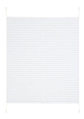 Klemm Plissee Easyfix Plisseerollo weiß ohne bohren Crush Optik (H/B: 130/80 cm)