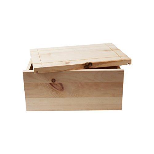 4betterdays.com NATURlich leben! Hochwertige Brotdose aus massivem Zirbenholz - Brotkasten mit abnehmbarem Deckel - 35x25x15,8 cm (LxBxH) - plastikfrei & nachhaltig - Handarbeit aus Österreich