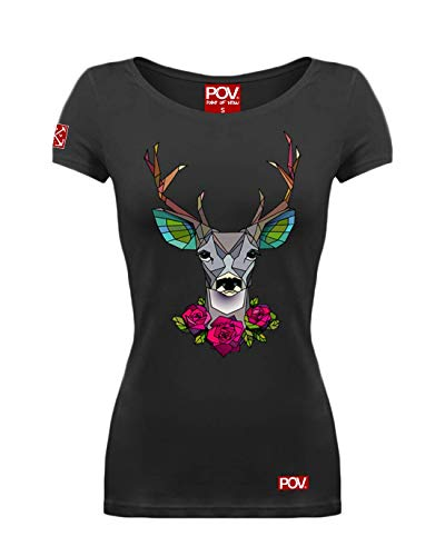 POV Cooles Damen T-Shirt Geometrischer Hirsch Polygon (Schwarz, XS)