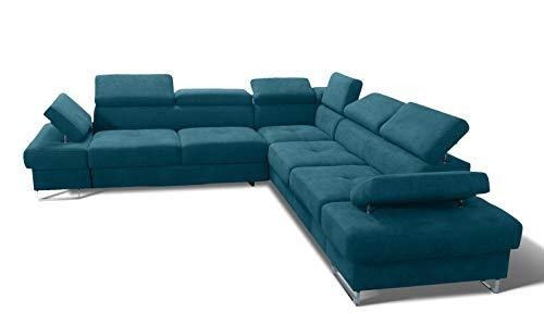 MG Home Galaxy Max Ecksofa mit Bettfunktion Bettkasten Sofagarnitur Couch mit Schlaffunktion Möbel für Wohnzimmer (Türkisfarbener Schatten, Orientierung - Seite -Rechts)