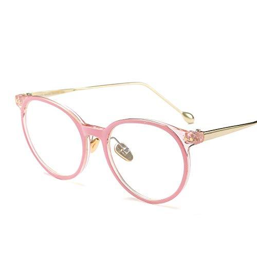 Shengjuanfeng-brillen Retro High Fashion Metall Tempel Horn umrandeten klare BrillengläserMänner und Frauen Accessoires (Farbe : Rosa)