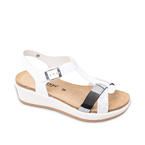 VALLEVERDE G52186 Sandali Scarpe Donna Fibbia Cinturino Pelle Brillantini Bianco (38 EU)