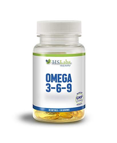 Molekular Destilliert, Fischöl (HS Labs OMEGA 3 6 9 Fischöl Kapseln Hochdosiert|Ohne Zusätze|Essentielle Fettsäuren Molekular Destilliert für Höchste Reinheit und Frische Fish Oil|Mit Vitamin E (30 Softgels))