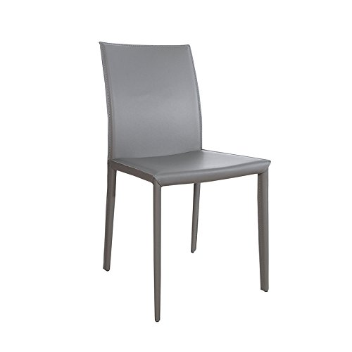 Exklusiver Design Stuhl Milano ECHT LEDER grau Esszimmerstuhl Echtleder Lederstuhl (Esszimmer Leder-stuhl Grau)