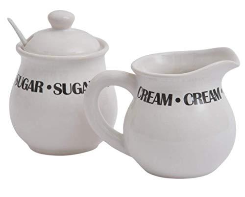 Tradicional crema y azúcar Set – 3 piezas (incluye cuchara de azúcar)