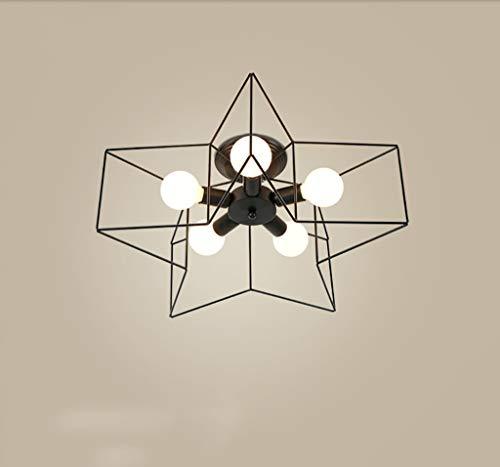 Pendelleuchte Schatten Nordic Einfache fünfzackigen Sterne Deckenleuchte Schmiedeeisen Wohnzimmer Lampe Kronleuchter Kinderzimmer Schlafzimmer Zimmer Beleuchtung Restaurant Lampen (Color : Black)