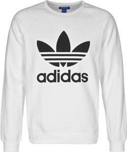 adidas Herren Trefoil Crew Sweatshirt Weiß - (BLANCO)