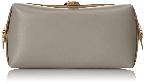 CTM Schulter der Frau Clutch, kleine Tasche mit Schulterriemen , echtem Leder in Italien - 18x11x9 Cm Grau (Fango)
