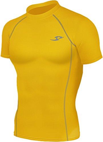 new-068-giallo-pelle-calze-a-compressione-strato-base-a-maniche-corte-da-uomo-t-shirt-uomo-yellow-l