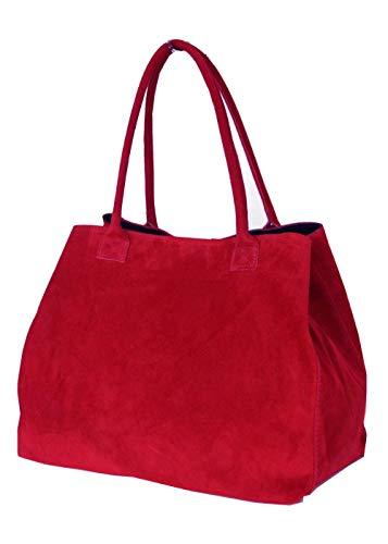 fashion-formel Zarolo Italienische Damen Handtasche, Shopper, Leder Henkeltasche, Hobo Bag, echtes Leder/Wildleder/Kroko Look -