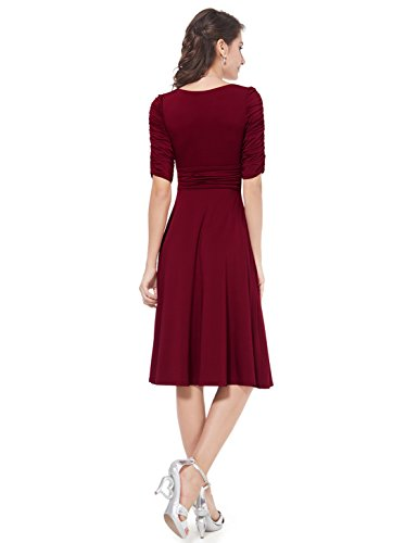 Alisapan Einfach Damen Kurz V-Ausschnitt Dehnbar Casual Sommerkleider 03632 Burgundy