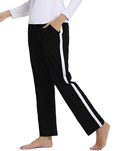 Aibrou Damen Jogginghose Sporthose Freizeit Hose Baumwolle Lang für Jogging Laufen Fitness Traininghose mit Streifen Schwarz L