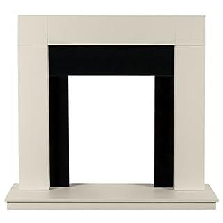 Adam Malmo Fireplace in Oak and Black/Cream, 39 Inch