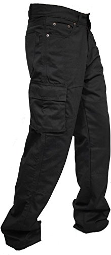 Preisvergleich Produktbild Newfacelook Herren Arbeit Cargo Hose Jeans Work Trouser Gerade Geschnittene Black W38 x L30