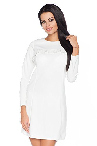 Futuro Fashion Femmes élégant Manches Longues robe Mini avec En dentelle Volant Viscose ligne-A Style Tailles 8-12 UK FA445 Écru