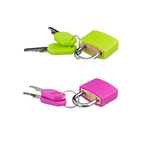2 Candado Pequeño con Cuatro Llaves Adecuadas Bolsa de Viaje para Maleta Rosa Roja + Verde