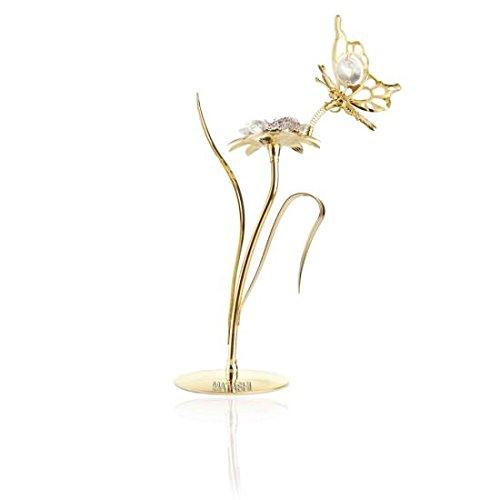 Mariposa y flor, bañadas en oro de 24 quilates incrustadas con autén
