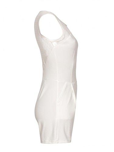Laeticia dreams femme combinaison courte pièce dentelle combinaison sans manches taille s m l xL Blanc - blanc