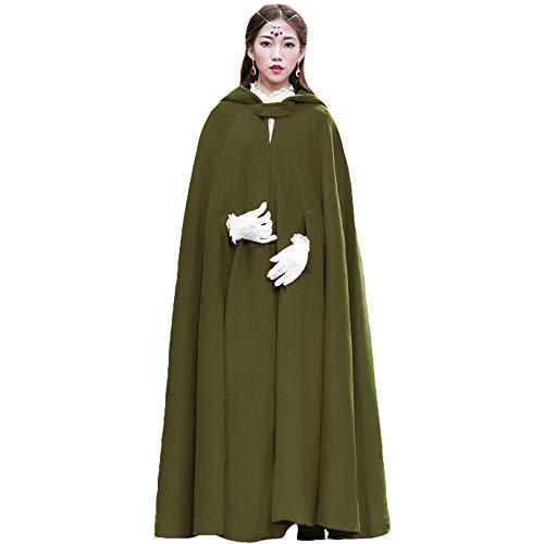 ZooBoo Halloween Damen Umhang Mantel - Klassische Kostüme Umschlagtuch Kapuze Herbst Winter Kleidung für Allerheiligen Weihnachten Party Maskerade Cosplay Rollenspiel Bühnenstück - Plüsch (Armeegrün)
