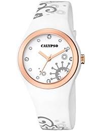 Calypso–Reloj de cuarzo para mujer con correa de plástico en color blanco esfera analógica pantalla y blanco k5631/3