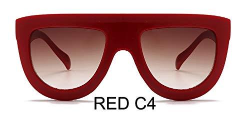 LKVNHP Kunststoff Rote Sonnenbrille Frauen Gradient Lens Uv400 Sonnenbrille Rahmen Shades Marke Damen Brille Unisex OculosWTYJ058 rot c4