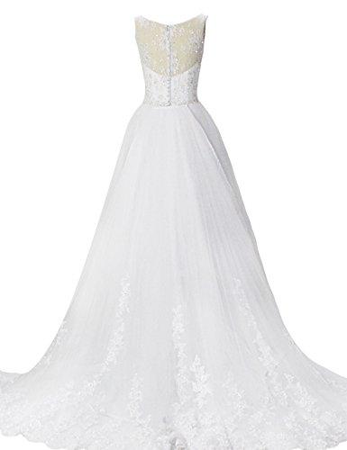 Dressystar Robe de mariée princesse Longue, Sans Manches, à paillettes, en Organza Blanc