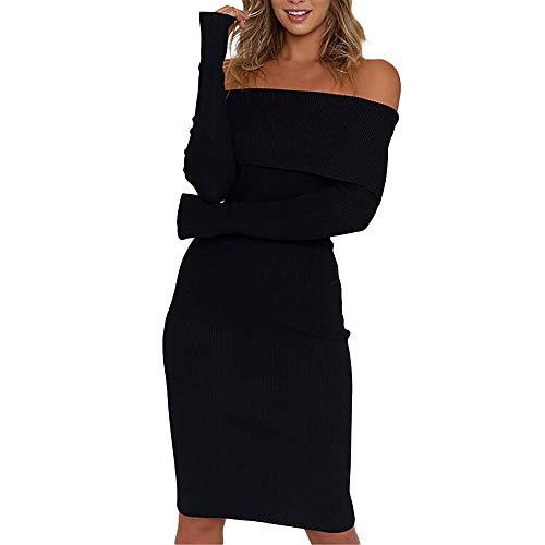 d Mode Damen Weihnachten Winter Sexy Langarm Fest Schulterfrei Strickpullover Pullover Kleid ()