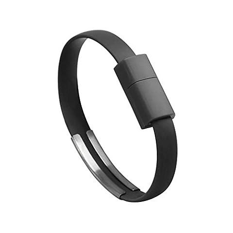 Chargeur bracelet Micro USB VAPIAO pour Samsung, HTC, LG, Nokia, Sony, Huawei, Motorola, etc. en Noir